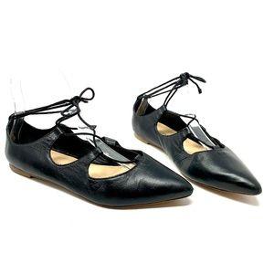 Loeffler Randall Ambra Lace-Up Ballet Flat, Black